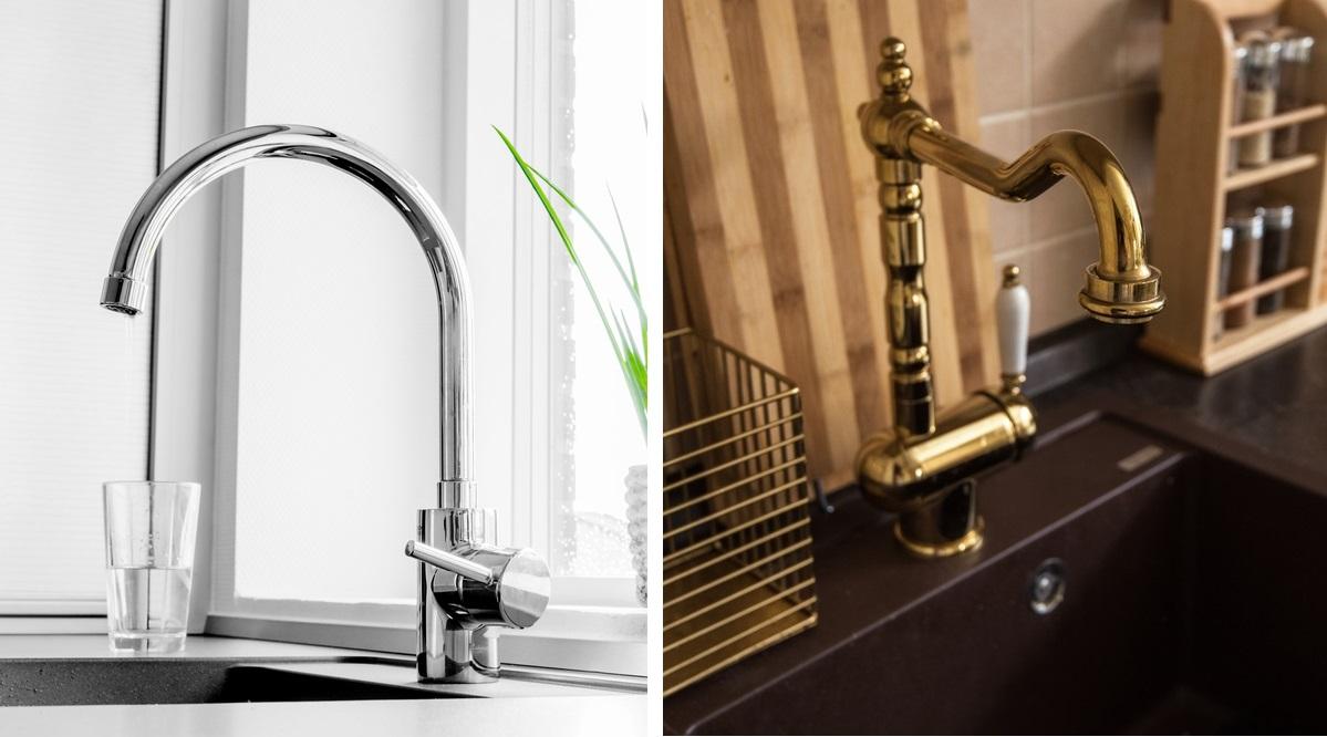 rubinetto cucina in acciaio e rubinetto cucina in bronzo