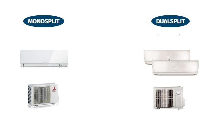 condizionatore monosplit e condizionatore dualsplit